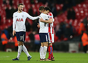 9th December 2017, Wembley Stadium, London England; EPL Premier League football, Tottenham Hotspur versus Stoke City; Son Heung-Min of Tottenham Hotspur hugs Kevin Wimmer of Stoke City after the final whistle with Eric Dier of Tottenham Hotspur looking on