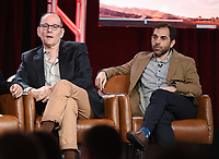 2020 FOX WINTER TCA: (L-R): 9-1-1: LONE STAR Co-Creator/Co-Executive Producer/Showrunner Tim Minear and Executive Producer Rashid Raisani during the 9-1-1: LONE STAR panel at the 2020 FOX WINTER TCA at the Langham Hotel, Tuesday, Jan. 7 in Pasadena, CA. © 2020 Fox Media LLC. CR: Frank Micelotta/FOX/PictureGroup