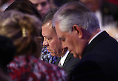 Jordan's King Abdullah (C) and U.S. Secretary of State Rex Tillerson (R) listen to remarks at the National Prayer Breakfast where U.S. President Donald Trump spoke February 2, 2017 in Washington, DC. Every U.S. president since Dwight Eisenhower has addressed the annual event.  <br /> Credit: Win McNamee / Pool via CNP