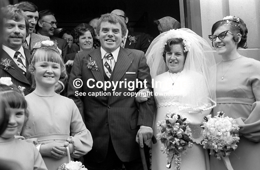 Jimmy Stewart, Belfast, N Ireland, who lost both legs in the Abercorn Restaurant bombing on 4th March 1972, pictured after his wedding to <br />