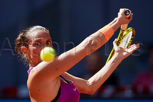 May 9th 2017, Caja Magica, Madrid, Spain; Mutua Madrid Open tennis tournament; Roberta Vinci of Italy in action against Simona Halep of Roumania