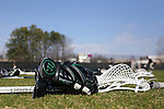 12 February 2017: Cleveland State glove and stick. The Duke University Blue Devils hosted the Cleveland State University Vikings at Koskinen Stadium in Durham, North Carolina in a 2017 Division I College Men's Lacrosse match. Duke won the game 22-7 in overtime.