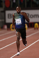 Usain Bolt<br /> <br /> Usain Bolt of Jamaica competes   the 100m event at the Golden Gala IAAF Diamond League  at the Olympic stadium in Rome e