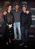 "WEST HOLLYWOOD - NOVEMBER 11: Elizabeth Chai Vasarhelyi, Tim McGraw, and Jimmy Chin attend a screening of National Geographic's ""Free Solo"" at Pacific Design Center on November 11, 2018 in West Hollywood, California. (Photo by Frank Micelotta/National Geographic/PictureGroup)"