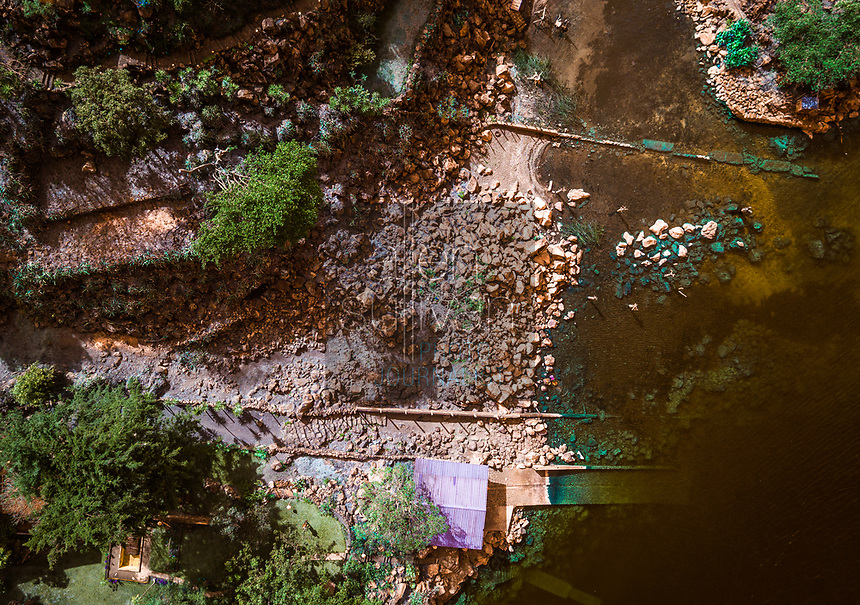 A section of inlet shorline shown in a drone image at Cerro de Oro, Guatemala on Lago de Atitlan on February 8, 2018.
