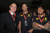 John Witten, Ross Filipo and Ma'a Nonu at the Wellington Lions Ricoh jersey launch at Black Sparrow Bar, Embassy Theatre, Wellington, New Zealand on Wednesday, 1 August 2012. Photo: Dave Lintott / lintottphoto.co.nz