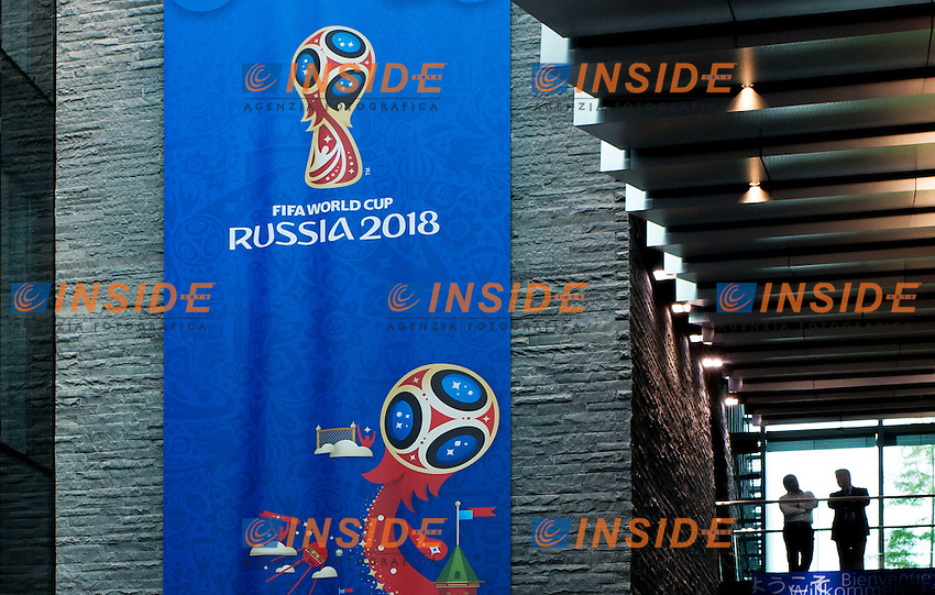 Zurigo 14-10-2016  Football FIFA - Council meeting; A poster announcing the 2018 Football World Cup in Russia is displayed at the FIFA headquarters in Zurich Foto Steffen Schmidt/freshfocus/Insidefoto ITALY ONLY
