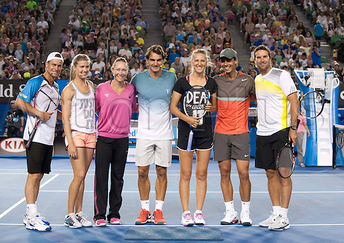 11.01.2014. Sydney, Australia. Australian Open Tennis Championships. World Tour, Grand Slam, Australian Open (L-R) Lleyton Hewitt of Australia, Eugenie Bouchard of Canada, Samantha Stosur of Australia, Roger Federer of Switzerland, Victoria Azarenka of Belarus, Rafael Nadal of Spain and Patrick Rafter of Australia pose for photduring the Kids Day exhibition match ahead of the Australian Open tennis tournament in Melbourne, Australia, Jan. 11, 2014.