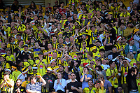Fans in the grandstand during the A-League football match between Wellington Phoenix and Sydney FC at Sky Stadium in Wellington, New Zealand on Saturday, 21 December 2019. Photo: Dave Lintott / lintottphoto.co.nz