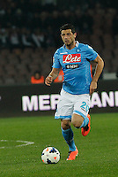 Blerim Dzemaili    in action during the Italian Serie A soccer match between SSC Napoli and AS Roma   at San Paolo stadium in Naples, March 09 , 2014