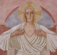 Christ in majesty, detail of the monumental fresco on the vault of the choir painted by Leon Toublanc, 20th century, Nanterre Cathedral (Cathédrale Sainte-Geneviève-et-Saint-Maurice de Nanterre), 1924 - 1937, by architects Georges Pradelle and Yves-Marie Froidevaux, Nanterre, Hauts-de-Seine, France. Picture by Manuel Cohen