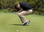 SAN ANTONIO, TX - APRIL 05: Charl Schwartzel reacts to missing his birdie putt on the 6th hole during the second round of the Valero Texas Open at the AT&T Oaks Course at TPC San Antonio on April 05, 2013 in San Antonio, Texas. (Photo by Steve Dykes/Getty Images) *** Local Caption *** Charl Schwartzel