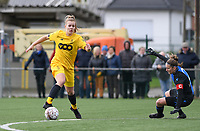 20200329 – BRUGGE, BELGIUM : Standard's Sophie Strepenne (2) pictured with Club Brugge's Ellen Martens during a women soccer game between Dames Club Brugge and Standard Femina de Liege on the 17 th matchday of the Belgian Superleague season 2019-2020 , the Belgian women's football  top division , saturday 29 th February 2020 at the Jan Breydelstadium – terrain 4  in Brugge  , Belgium  .  PHOTO SPORTPIX.BE | DAVID CATRY