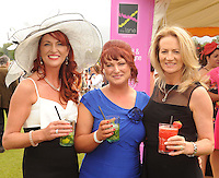 16-07-2015: Emer Devery and Pauline Penny, Tullamore, and Assumpta O'Kelly, Nenagh,  at the Ross Hotel Lane Bar Cocktail and Champagne Bar  at Killarney Races ladies day on Thursday.  Picture: Eamonn Keogh (macmonagle.com)   NO REPRO FREE PR PHOTO
