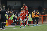 Ollie Palmer (9) of Crawley Town celebrates his first goal in the first half with Beryly Lubala of Crawley Town  half during Crawley Town vs Bradford City, Sky Bet EFL League 2 Football at Broadfield Stadium on 11th January 2020