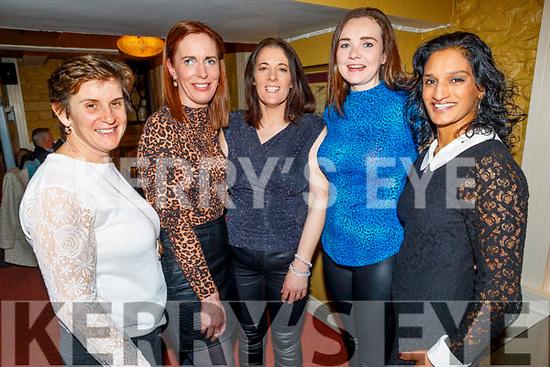 Ursula Scullion, Fiona Costello, Nora Falvey, Lisa Mitchell and Ranjna Donovan enjoying the evening in the Brogue Inn on Friday.