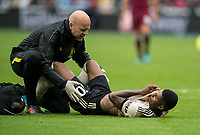 Medical staff assess Marcus Rashford of Man Utd groin injury during the Premier League match between West Ham United and Manchester United at the Olympic Park, London, England on 22 September 2019. Photo by Andy Rowland / PRiME Media Images.