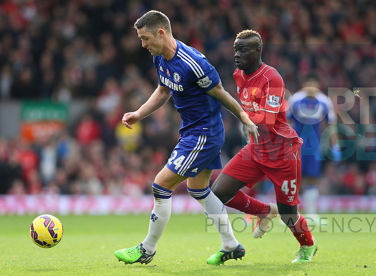 Gary Cahill of Chelsea and Mario Balotelli of Liverpool  - Barclays Premier League - Liverpool vs Chelsea - Anfield Stadium - Liverpool - England - 8th November 2014  - Picture Simon Bellis/Sportimage