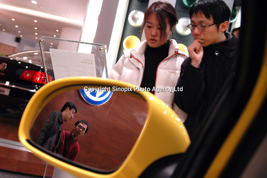 "View from inside of an imported ""New Beetle"" in the VW's Oriental Plaza show room.."