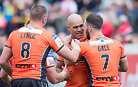 Picture by Allan McKenzie/SWpix.com - 13/05/2017 - Rugby League - Ladbrokes Challenge Cup - Castleford Tigers v St Helens - The Mend A Hose Jungle, Castleford, England - Castleford's Jake Webster is congratulated on scoring a try against St Helens.