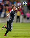 Real Salt Lake forward Corey Baird (27) stops the ball in the second half Saturday, April 21, 2018, during the Major League Soccer game at Rio Tiinto Stadium in Sandy, Utah. RSL beat the Colorado Rapids 3-0. (© 2018 Douglas C. Pizac)