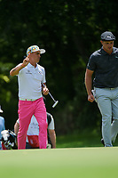Rickie Fowler (USA) chats with Bryson DeChambeau (USA) as they approach the green on 7 during round 2 of the 2019 Charles Schwab Challenge, Colonial Country Club, Ft. Worth, Texas,  USA. 5/24/2019.<br /> Picture: Golffile   Ken Murray<br /> <br /> All photo usage must carry mandatory copyright credit (© Golffile   Ken Murray)