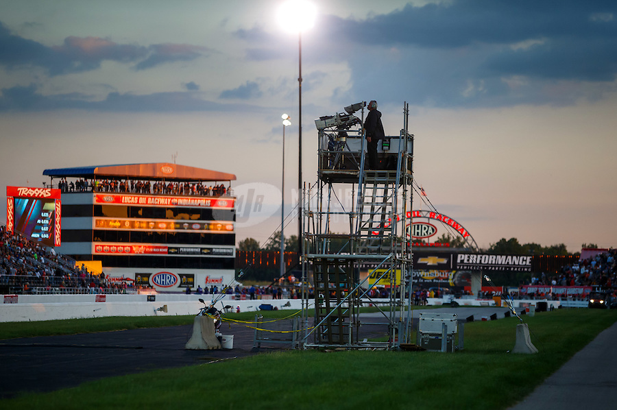 Sep 2, 2016; Clermont, IN, USA; General view of a Fox Sports tv cameraman stand alongside the track during NHRA qualifying for the US Nationals at Lucas Oil Raceway. Mandatory Credit: Mark J. Rebilas-USA TODAY Sports