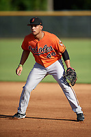 Baltimore Orioles Juan Escarra (46) during practice before an Instructional League game against the New York Yankees on September 23, 2017 at the Yankees Minor League Complex in Tampa, Florida.  (Mike Janes/Four Seam Images)