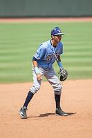 Wilmington Blue Rocks third baseman Wander Franco (11) on defense against the Winston-Salem Dash at BB&T Ballpark on June 5, 2016 in Winston-Salem, North Carolina.  The Dash defeated the Blue Rocks 4-0.  (Brian Westerholt/Four Seam Images)