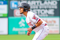 Wisconsin Timber Rattlers outfielder Joantgel Segovia (5) during game one of a Midwest League doubleheader against the Kane County Cougars on June 23, 2017 at Fox Cities Stadium in Appleton, Wisconsin.  Kane County defeated Wisconsin 4-3. (Brad Krause/Krause Sports Photography)