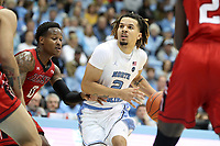 CHAPEL HILL, NC - NOVEMBER 01: Cole Anthony #2 of the University of North Carolina drives the lane during a game between Winston-Salem State University and University of North Carolina at Dean E. Smith Center on November 01, 2019 in Chapel Hill, North Carolina.