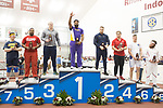 COLLEGE STATION, TX - MARCH 11: Johnnie Jackson of LSU, center, takes the top of the podium in the men's hammer throw during the Division I Men's and Women's Indoor Track & Field Championship held at the Gilliam Indoor Track Stadium on the Texas A&M University campus on March 11, 2017 in College Station, Texas. (Photo by Michael Starghill/NCAA Photos/NCAA Photos via Getty Images)