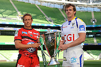 Jonny Wilkinson of RC Toulon (left) and Aurelien Rougerie of ASM Clermont Auvergne with the Heineken Cup Trophy at the Captain's Run press conference before the Heineken Cup Final at the Aviva Stadium, Dublin on Friday 17th May 2013 (Photo by Rob Munro)