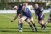 Tom Holmes of Nottingham Rugby attempts to stop Charlie Hewitt of London Scottish during the Greene King IPA Championship match between London Scottish Football Club and Nottingham Rugby at Richmond Athletic Ground, Richmond, United Kingdom on 15 April 2017. Photo by David Horn.