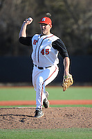 Rutgers Scarlet Knights pitcher Charlie Lasky (45) during game game 2 of a double header against the University of Houston Cougars at Bainton Field on April 5, 2014 in Piscataway, New Jersey. Houston defeated Rutgers 9-1.      <br />  (Tomasso DeRosa/ Four Seam Images)