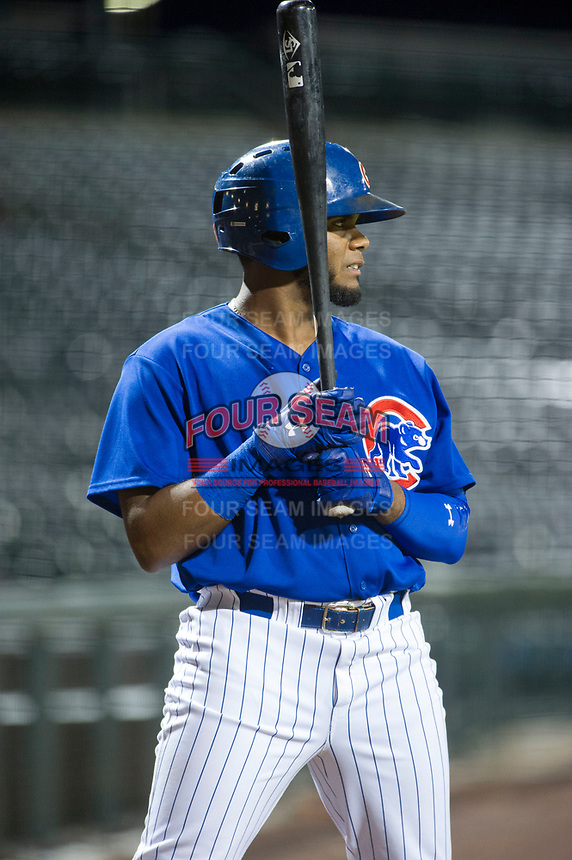 AZL Cubs first baseman Rafael Mejia (13) stands in the on-deck circle during a game against the AZL Brewers on August 1, 2017 at Sloan Park in Mesa, Arizona. Brewers defeated the Cubs 5-4. (Zachary Lucy/Four Seam Images)