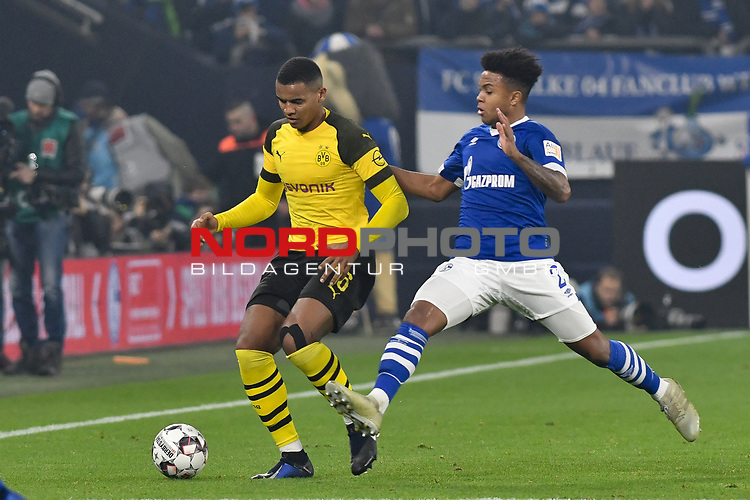 08.12.2018, Veltins-Arena, Gelsenkirchen, GER, 1. FBL, FC Schalke 04 vs. Borussia Dortmund, DFL regulations prohibit any use of photographs as image sequences and/or quasi-video<br /> <br /> im Bild v. li. im Zweikampf Manuel Akanji (#16, Borussia Dortmund) Weston McKennie (#2, FC Schalke 04) <br /> <br /> Foto &copy; nordphoto/Mauelshagen