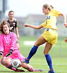 BROOKINGS, SD - AUGUST 13: Marisa Shulz #16 from South Dakota State gets a shot against goalie Justina Jarmoszko #1 from Manitoba during the first half of their exhibition match Sunday afternoon at Fishback Soccer Park in Brookings. (Photo by Dave Eggen/Inertia)