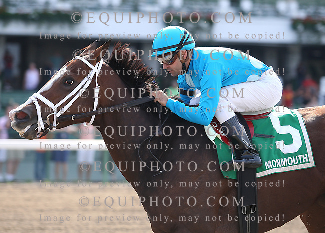 Maple Forest #5 with Joe Bravo riding won the $60,000 Blue Sparkler Stakes at Monmouth Park.  Photo By Bill Denver/EQUI-PHOTO