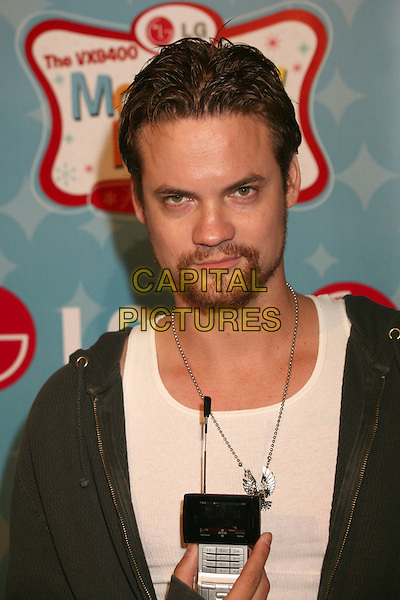 SHANE WEST.LG Mobile Phones Hosts Mobile TV Party and LG VX9400 Launch at Paramount Studios, Los Angeles, California, USA..June 19th, 2007.headshot portrait phone goatee facial hair silver necklace .CAP/ADM/BP.©Byron Purvis/AdMedia/Capital Pictures