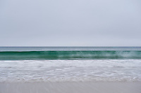 Abstract image of breaking wave in misty weather, Luskentyre beach, Isle of Harris, Outer Hebrides, Scotland