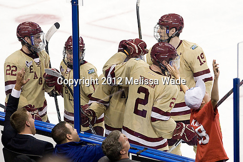 Paul Carey (BC - 22), Johnny Gaudreau (BC - 13), Pat Mullane (BC - 11), Brian Dumoulin (BC - 2), Chris Kreider (BC - 19) - The Boston College Eagles defeated the University of Minnesota Golden Gophers 6-1 in their 2012 Frozen Four semi-final on Thursday, April 5, 2012, at the Tampa Bay Times Forum in Tampa, Florida.