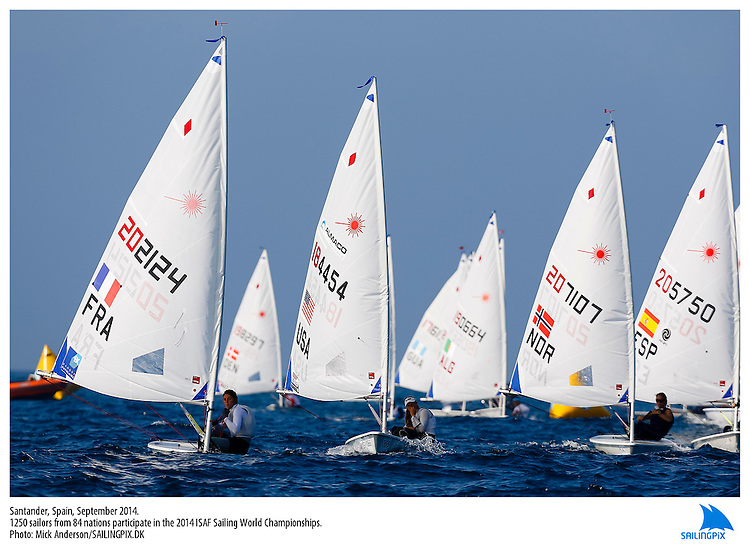 20140912, Santander, Spain: 2014 ISAF SAILING WORLD CHAMPIONSHIPS - More than 1,250 sailors in over 900 boats from 84 nations will compete at the Santander 2014 ISAF Sailing World Championships from 8-21 September 2014. The best sailing talent will be on show and as well as world titles being awarded across ten events 50% of Rio 2016 Olympic Sailing Competition places will be won based on results in Santander. Sailor(s): Laser Radial - USA184454 - Erika REINEKE. Photo: Mick Anderson/SAILINGPIX.DK. Keywords: Sailing, water, sport, ocean, boats, olympic, dinghy, dinghies, crew, team, sail. Filename: SailingWorlds2014_MICK-3277.jpg.
