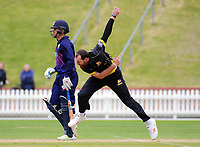 Iain McPeake bowls during the Ford trophy one day cricket match between Wellington Firebirds and Auckland Aces at the Basin Reserve in Wellington, New Zealand on Sunday, 4 November 2018. Photo: Dave Lintott / lintottphoto.co.nz