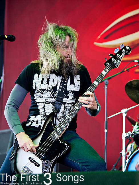 Tory Sanders of Mastodon performs during the 2013 Mayhem Festival at Klipsch Music Center in Indianapolis, Indiana.