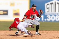 Anthony Phillips #7 of the High Desert Mavericks waits for the throw at second base during a game against the Inland Empire 66'ers at San Manuel Stadium on April 8, 2013 in San Bernardino, California. Inland Empire defeated High Desert, 6-2. (Larry Goren/Four Seam Images)