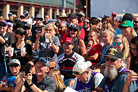 Jul 28, 2019; Sonoma, CA, USA; NHRA top fuel driver Steve Torrence (center), mother Kay Torrence and crew look on as Billy Torrence (not pictured) celebrates after winning the Sonoma Nationals at Sonoma Raceway. Mandatory Credit: Mark J. Rebilas-USA TODAY Sports