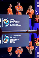 HAVENGA Arno coach of the Netherlands  and staff  <br /> Budapest 19/01/2020 Duna Arena <br /> SPAIN  (white caps) Vs. NETHERLANDS (blue caps) Women <br /> XXXIV LEN European Water Polo Championships 2020<br /> Photo  © Andrea Staccioli / Deepbluemedia / Insidefoto