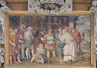 The Unity of the State, showing the King holding court, fresco by Rosso Fiorentino, 1535-37, in a carved stucco frame, in the Galerie Francois I, begun 1528, the first great gallery in France and the origination of the Renaissance style in France, Chateau de Fontainebleau, France. The Palace of Fontainebleau is one of the largest French royal palaces and was begun in the early 16th century for Francois I. It was listed as a UNESCO World Heritage Site in 1981. Picture by Manuel Cohen