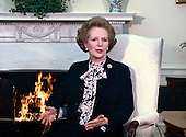 Washington, DC - (FILE) --  Prime Minister Margaret Thatcher of Great Britain makes a statement to the media as she meets United States President Ronald Reagan in the Oval Office of the White House in Washington, D.C. on Wednesday, February 20, 1985.  Their meeting lasted 2 hours..Credit: Arnie Sachs / CNP